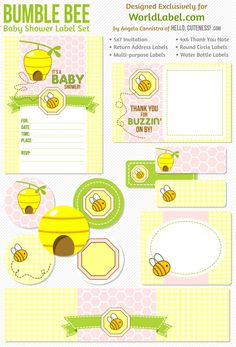 Bumble Bee Label Set -  - designed by HelloCuteness.com (formerly AnythingbutPerfect.com) for exclusive download via WorldLabel.com.