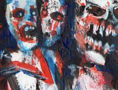 """3 ZOMBIES""  Acrylic original  ,ACEO  jack larson 3.5""x2.5"" #Abstract"