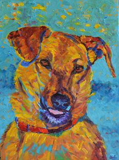 Dog art Animal painting Dog artwork Fine art by TanabeStudio