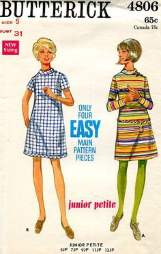 Sewing Patterns Vintage Out of Print Retro,Over 7000 ,Vogue Simplicity McCall's - Butterick 4806 Retro 1960's Mod Dress