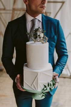 modern geometric wedding cake