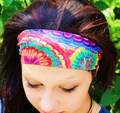 Manda Bee's PERFECT Stretchy Yoga Headband Hippie Tie Dye Fractal. $6.00, via Etsy.--Chances are I'm buying this