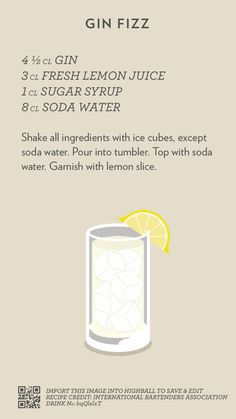 Gin Fizz, created with Highball. Bar Drinks, Alcoholic Drinks, Beverages, Cocktail Shots, Happy Hour Drinks, Gin Fizz, Alcohol Drink Recipes, In Vino Veritas, Getting Drunk