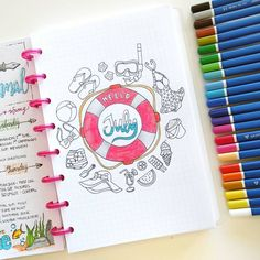 "789 mentions J'aime, 24 commentaires - Nicole (@nicoles.journal) sur Instagram : ""July planning pt. 1: Hello July! I like to welcome the month with a pretty coloring page that sets…"""