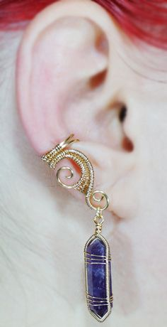 Gold and Amethyst Crystal Point Ear Cuff by =sylva on deviantART