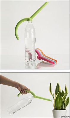 water bottle + attachment = watering can