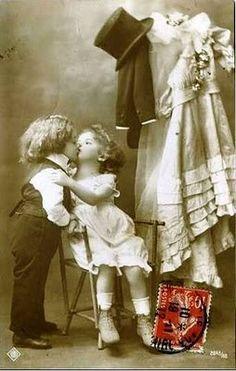 Vintage postcard, darling little children