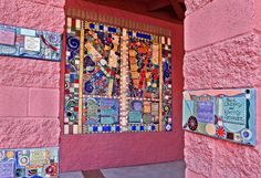 Donor Plaques using custom made handmade tiles were designed into a mosaic for YWCA Tucson