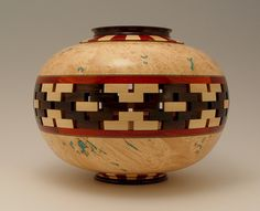 maple burl bowl segment and turquoise inlay