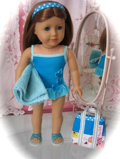 Aqua and Blue Ruffled Swimsuit sandals bag and towel  by MenaBella, $27.00