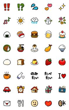 food and sweets emoji – LINE อิโมจิ Cute Small Drawings, Cute Cartoon Drawings, Mini Drawings, Easy Drawings, Kawaii Doodles, Cute Doodles, Doodle Icon, Doodle Art, Doodle Tattoo