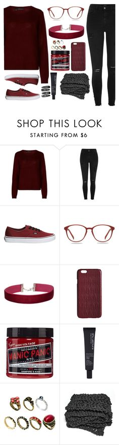 """BLACK and RED"" by ori-me on Polyvore featuring мода, 360cashmere, River Island, Vans, Miss Selfridge, Dagmar, Manic Panic NYC, shu uemura, ASOS и Clips"