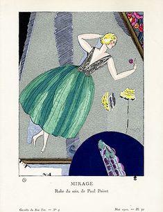 Gazette du Bon Ton Antique Fashion Prints 1912-1913 - Mirage with genuine silver by Mario Simon BTG10 Reg. Price: $145 Sale Price: $95