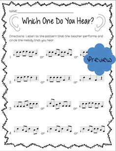Do Staff Notation Which One Do You Hear? Worksheet from Do Worksheet Bundle--Special $2 Flash Sale on Tuesday, May 13