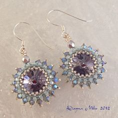 Bead Woven Peyote Beadwork Earrings Rivoli Purple Aqua Snowflake Winter