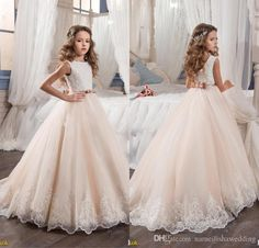 Flower Girl Dresses For Weddings Blush Pink Custom Made Princess Tutu Sequined Appliqued Lace Bow 2017 Vintage Child First Communion Gowns Girls Special Occasion Dresses Girls White Dress From Nameilishawedding, $76.39| Dhgate.Com