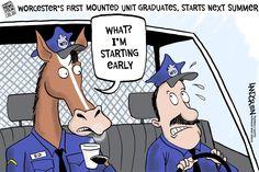 Landgren cartoon: Worcester's mounted police