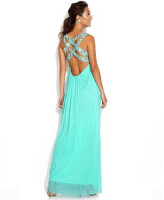 Xscape Sleeveless Embellished-Bodice Gown - Juniors Prom Dresses - Macy's