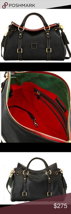 Dooney & Bourke Florentine medium satchel BEAUTIFUL Dooney bag - black with green and red lining . Detachable Shoulder strap and cell phone pocket . Carried only a few times   *photos are stock photos - and show a red zipper lining- mine is black - see photo Dooney & Bourke Bags Satchels