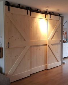 Brilliant masonite interior barn doors - see our website for a whole lot more inspirations! Room Doors, Closet Doors, Laundry Doors, Bypass Barn Door, Barn Door Designs, Basement Inspiration, The Doors, Interior Barn Doors, Barn Door Hardware