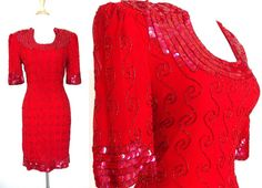 Vintage Red Sequin Dress by VolereVintage on Etsy, $95.00