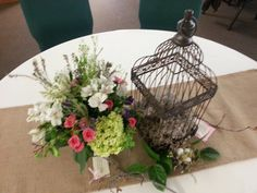 Fresh flowers, maple branches, bird cages and nests. Sarah's baby shower.