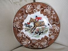 Equestrian England Fox Hunt Plate Brown Transferware Wood & Sons Alpine Ironston #WoodSons
