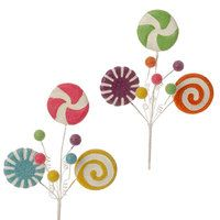 Candy pieces on floral stems for decorating f3504500 by RAZ Imports from the Merry and Bright Collection