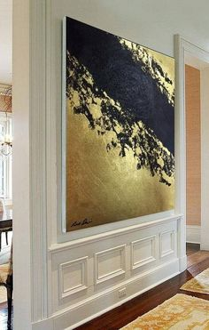 Huge Painting, Abstract painting, GOLD & BLACK, Original painting, Canvas Handmade, Large art, Vertical Wall, Artwork Painting, Huge art Painting Detailed: Materials: Canvas Color Type: Acrylic Colors Design: Gold & Black Abstract Space: Home, Office SHIPPED STRETCHED on inside wood frame