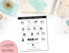 Modern Wedding Day Agenda, Wedding Timeline Icons, Bridal Party Graphic Timeline, Clip Art, Silhouette, Wedding Day Timeline {PRINTABLE} by GreatLakesCreative on Etsy