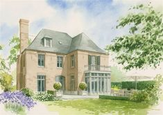 aquarel achtergevel Front Doors With Windows, Classic Garden, Sims House, Architecture, Facade, Beautiful Homes, Building A House, Villa, New Homes