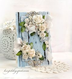 Wild Orchid Crafts: Card with white roses