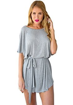 LookbookStore Womens Casual Grey Loose Fit TShirt Dress US 4 ** You can get more details by clicking on the image.