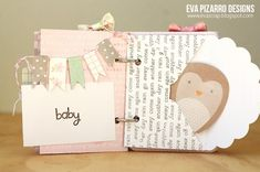 Baby themed envelope mini album created by @evapizarrov using @Pebbles Inc. #specialdelivery collection. Great use of mini envelopes. #scrapbooking #minialbum