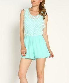 Look at this #zulilyfind! Mint Lace Tie-Back Surplice Romper #zulilyfinds