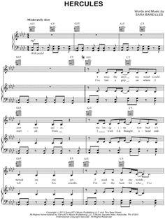 """Sara Bareilles """"Hercules"""" Sheet Music - Download & Print"""