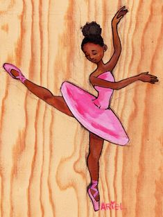 Original artwork by Keturah Ariel illustrating a beautiful African American ballerina. Print on wood 8x10. READY TO HANG, NO FRAMING NECESSARY. $80Print on Glossy Poster Paper 11x17. $20