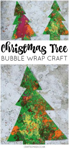 This easy bubble wrap Christmas craft for kids is perfect for toddlers and preschool - easy Christmas trees with bubble wrap 'lights'! #christmas #christmascrafts #christmascraftsforkids #eyfs