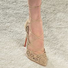 Christian Loubs x Marchesa / Spring 2014 / laser cut and strappy lace up