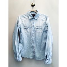 Bleached Denim Button-Down AE bleached denim button-down top. Clip-buttons, with white lacquered button face and two breast pockets. It's in perfect condition, and fit for any outing! American Eagle Outfitters Tops Button Down Shirts