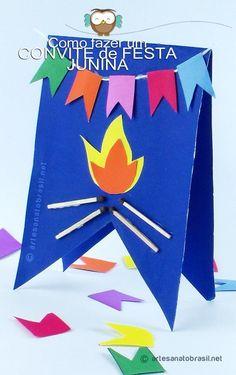 Convite junino - #festa #junina #fogueira #lembrancinha - Convite de festa junina passo a passo