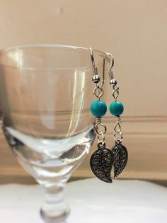 These beautiful drop earrings feature the semi precious stone turquoise which along with its beautiful colour is known for its calming, strengthening and balancing properties, Leaf Jewelry, Silver Jewelry, Native American Earrings, Leaf Earrings, Turquoise Beads, Silver Plate, Stone, Calming, Etsy