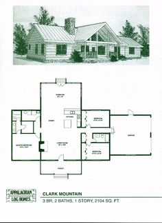Clark Mountain - 3 Bed, 2 Bath, 1 Story, 2104 sq. ft., Appalachian Log & Timber Homes, Hybrid Home Floor Plan