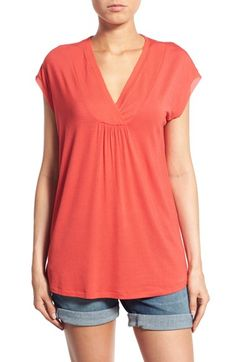 Pleione Pleat V-Neck Top (Regular & Petite) available at #Nordstrom