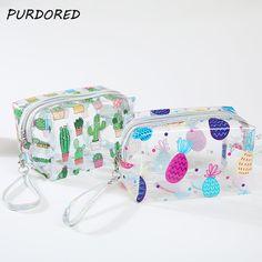 f79cf90e7 3.43 28% de DESCUENTO|Aliexpress.com: Comprar Comprado 1 pc transparente de  PVC bolsa de cosméticos de maquillaje de viaje, bolsa de Cactus flamenco  piña ...