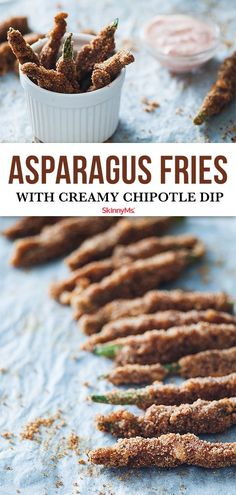 Our Baked Asparagus Fries with Creamy Chipotle Dip are crisp hot salty and make the perfect alternative to fatty fast food fries. Asparagus Fries, Baked Asparagus, Chipotle Dip, Appetizer Recipes, Appetizers, Appetizer Ideas, Dinner Recipes, Slow Cooker Recipes, Cooking Recipes