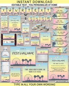 Editable Coachella Themed Birthday Party Printables, Invitations & Decorations Templates | Fauxchella, Kidchella, Music Festival, Fete, Gala, Carnival | INSTANT DOWNLOAD via SIMONEmadeit.com