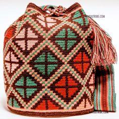 10% OFF Cabo Wayuu  Bag - MOCHILAS WAYUU BAGS Filet Crochet, Crochet Motif, Knit Crochet, Tapestry Crochet Patterns, Crochet Stitches Patterns, Blackwork Embroidery, Tapestry Bag, Crochet Purses, T Shirt Yarn