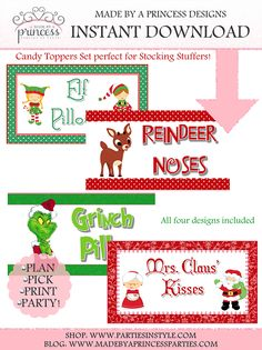 Stocking Stuffer Candy Topper PDFs Elf Pillows, Reindeer Noses, Grinch Pills, Mrs. Claus' Kisses Set INSTANT DOWNLOAD
