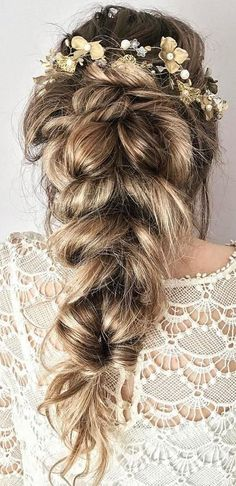 favorite wedding hairstyles for long hair half up half down with flowers tabitth